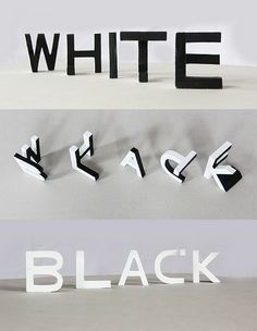 """ingenious typography experiments """"White & Black"""" by Lex Wilson (Nottingham, UK) that play with space to create opposing words when viewed from different angles Typography Letters, Graphic Design Typography, Typography Served, Creative Typography, Land Art, 3d Words, Letter Form, Shadow Art, Up Book"""