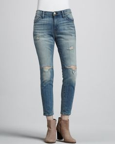 The Slouchy Stiletto Jeans, Destroy Wash by Current/Elliott at Bergdorf Goodman.