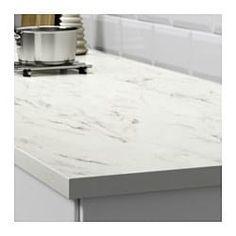 EKBACKEN Worktop, white marble effect, laminate - white marble effect/laminate - cm - IKEA Kitchen Countertop Materials, Kitchen Worktop, Ikea Kitchen Countertops, Diy Kitchen, Kitchen Design, Kitchen Decor, Cheap Kitchen, Rustic Kitchen, Cuisine Ikea