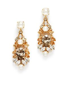 Crystal and Pearl Drop Earrings by Anton Heunis