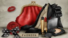 Womans World - purse, fashion, high heels, bow, mademoiselle, sexy, compact, ribbons, handbag, powder, fashionable, lips, glamour, magazine, beauty, lipstick, kiss, red rose, clutch