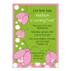Sweet Pink Ladybug Birthday Invitation