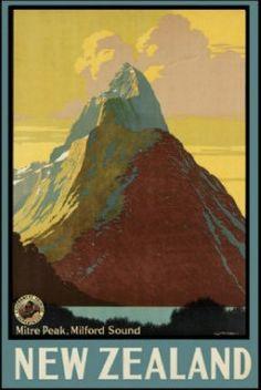 Milford Sound Vintage NZ Travel Poster for Sale - New Zealand Art Prints ($50-100) - Svpply