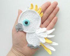 PATTERN Cockatoo Applique Crochet Pattern PDF Tropical Bird Crochet Applique Pattern Baby Shower Gift Motif Ornament Baby Blanket ENG