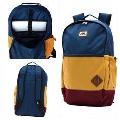 "Vans Blue Van Doren II Backpack Adjustable padded shoulder straps Dual zipper main compartment Embroidered Front zipper compartment Measures approx. 21"" x 12"" Moisture wicking fabric Padded laptop compartment Water bottle pocket Vans Bags Backpacks"