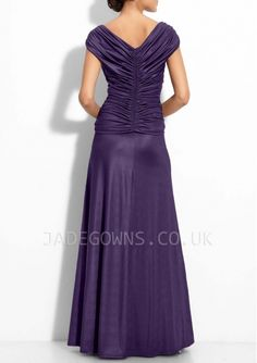 Pleated Sheath Long V-Neck Purple Mother of the Bride Dress