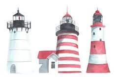 Lighthouses and seagulls. Watercolor by Bonitas on @creativemarket