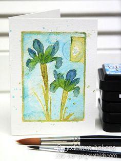 Watercolour using Darkroom Door Inky Irises Collage Stamp. Card by Godelieve Tijskens.