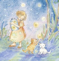 Firefly Sparkles   signed Giclee Print by Watercolor Artist Becky Kelly