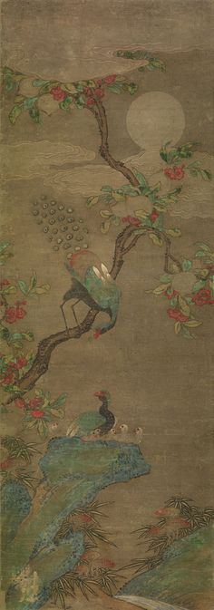 "korean-art: """"Peacocks in Peach Tree under Moonlight Joseon dynasty century "" From the Philadelphia Museum of Art. Korean Painting, Japanese Painting, Chinese Painting, Chinese Art, Korean Art, Asian Art, Peach Trees, Modern Pictures, Philadelphia Museum Of Art"