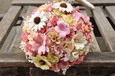 Powder Pink Cream and Ivory Wood and Corn Husk Bouquet