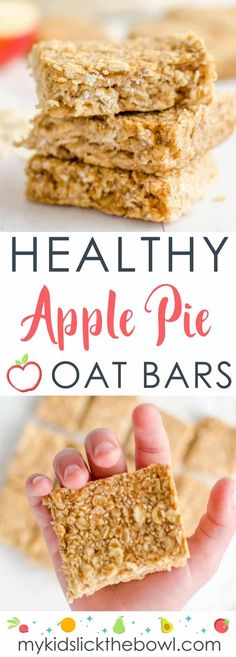 healthy oat bars, apple pie flavour an easy recipe perfect for kids toddlers and baby led weaning, Snacks oats Healthy Apple Pie Oat Bars -Soft Muesli Bar For Kids Healthy Vegan Snacks, Healthy Recipes, Healthy Snacks For Kids, Healthy Foods To Eat, Baby Food Recipes, Kid Snacks, Healthy Oat Bars, Healthy Sugar, Snacks Recipes
