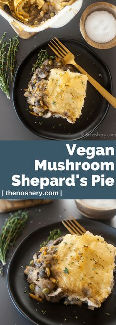 Mushroom Vegan Shepherd's Pie | This vegan mushroom shepherd's pie had all the comfort of a traditional shepherd's pie. It's loaded with meaty mushrooms, carrots, onions, and peas in savory gravy. Totally vegan and organic with @Pompeian Organic Extra Virgin Olive Oil. This pie will be loved by all! | The Noshery #TreandingintheKitchen #ad