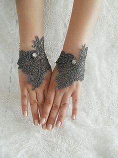 gothic glove cuff grey silver lace cuff bridesmaid by WEDDINGHome, $25.00