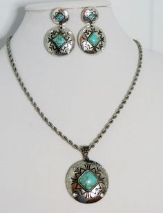 Cowgirl Bling Southwestern style CONCHO Indian Turquoise Gypsy Silver necklace set our prices are WAY BELOW RETAIL! all JEWELRY SHIPS FREE! www.baharanchwesternwear.com baha ranch western wear ebay seller id soloedition