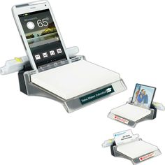 "Note holder station. Add a personal photo or your business cards, even holds your Smart Phone! Includes one unprinted white 3"" x 4"" 50-sheet Post-it(R) note pad. Clear upper, black bottom. Post-it(R) is a registered trademark of 3M."