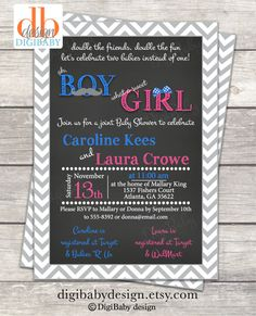 Chevron chalkboard joint baby shower invitations are ultra cute and modern! Can be customized to most colors. This is a DIGITAL FILE only - no