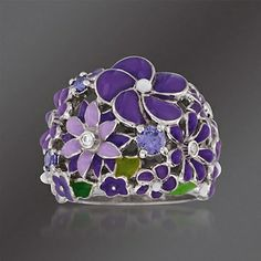 Belle Etoile Jardin Purple and White CZ Ring Ring Designs, Flower Rings, Enamel, Jewels, Sterling Silver, Purple, Accessories, Vitreous Enamel, Jewerly