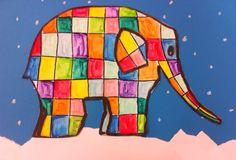 Groep 3/4 Elmer in de sneeuw Zelf de basis Elmer getekend op een A3 en gekopieerd zodat de kinderen het kunnen in schilderen. Daarna uit laten knippen en op een blauw vel geplakt waar eerst sneeuw gemaakt is met gescheurd wit papier. Tot slot met wit kleur potlood sneeuwvlokken maken