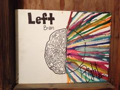 Left brain right brain melted crayon art