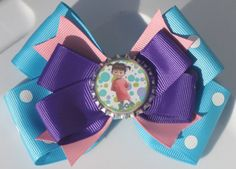 Purple Pink Teal and Polka Dot Monsters Inspired Hair by bowsforme, $6.99