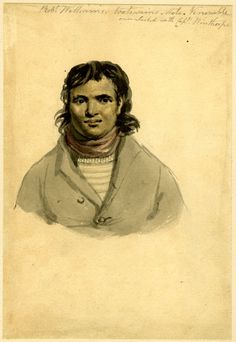 Philip James de Loutherbourg. Portrait study of a sailor, Robert Williams; to front, head and shoulders, wearing long hair, a red scarf around his neck and a jacket Watercolour, over graphite. 1740-1812. British Museum.