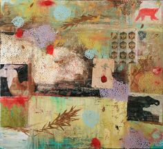 Marti Somers - Winking Buddha, oil and mixed media on wood panel