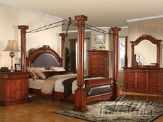 Roman Empire Canopy 6 Piece Bedroom Set In Cherry Finish By Acme 19340q Queen Size
