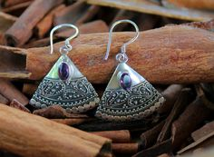 Stunning Amethyst and Sterling Silver Earrings — Rica