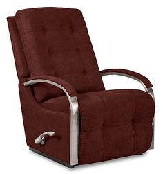 Impulse Reclina-Rocker® Recliner by La-Z-Boy, like the nickel-finished accents - looks great with patterned fabric