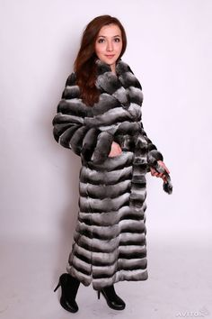 belted chinchilla fur coat