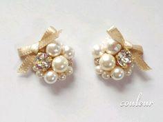 再販「pearl ribbon basic 」サージカルステンレスピアス/イヤリング
