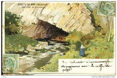 Grotte de Han - Gouffre de Belvaux -Aquarelle ( carte couleur )- Précurseur 1901
