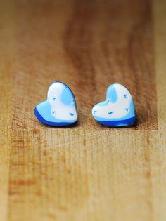 Heart Earrings  Stud Earrings  Blue Studs  Fimo by StudioPickles