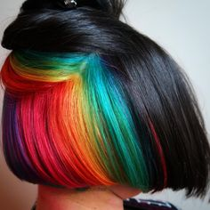 """""""RAINBOW UNDERLIGHTS I cut about 14"""" off of @artteacher's hair and colored her underneath rainbow! She's an art teacher and what better hair to have…"""""""