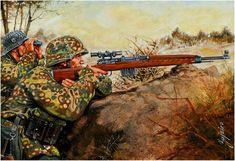 Francotiradores con el Gewehr 43 con mira telescópica Zielfernrohr 4 (Zf 4). Ramiro Bujeiro