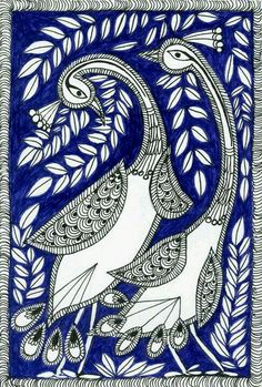 These are illustrations inspired by Madhubani painting--a folk art from India Madhubani Paintings Peacock, Kalamkari Painting, Madhubani Art, Indian Art Paintings, Gond Painting, Mural Painting, Fabric Painting, Arte Tribal, Tribal Art