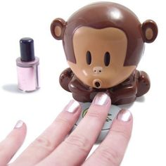 """Nail Dryer Breath Monkeys – This is an cool """"Unusual"""" Cute monkey nail polish blower dryer. Press on the plate of bananas and the cute monkey will blow cool air. Dry your freshly painted nails quickly. Nail Polish Dryer, Cute Nail Polish, Nail Dryer, Cute Nails, Pretty Nails, Gel Polish, Nail Art Kawaii, Monkey Nails, Nail Art Vernis"""