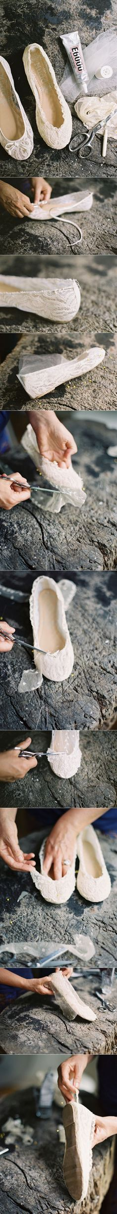 DIY Lace Ballet Flats,  I'll make my own  since I can't find a cute pair I like!