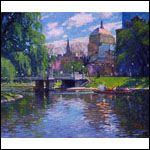 Springtime, Boston Public Garden printed from an original oil painting by Thomas R. Dunlay. Signed and numbered by the artist.