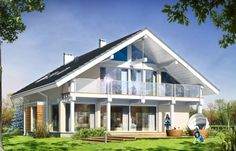 Проект дома Открытый - визуализация, вид сзади Barn Pictures, Home Pictures, Cabin Plans, House Plans, Conch House, Balcony Railing Design, Small Cottage Homes, Bungalow Renovation, House Extensions