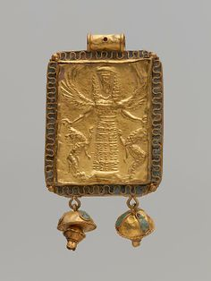 Gold and enamel pendant with Mistress of Animals Period: Archaic Date: 7th century B.C. Culture: Greek Medium: Gold