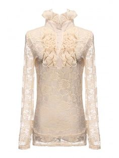 Stand Collar Long Sleeve Lace Vest
