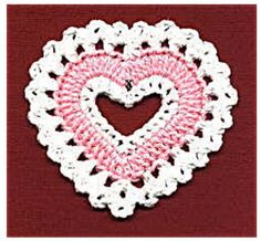 Valentine's Day coasters free crochet pattern