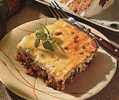Moussaka! The Greek eggplantlicous version of lasagna. See also: http://www.recipeslib.com/frugal-gourmet/32026-moussaka.html , http://www.recipeslib.com/sauces/63953-greek-tomato-sauce.html