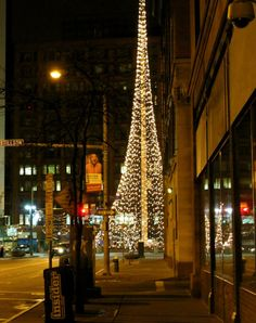The Liberty Pole in downtown Rochester - lit up for Christmas