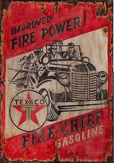 Fire Power Gas Texaco Gas Sign Antiqued Wood Sign