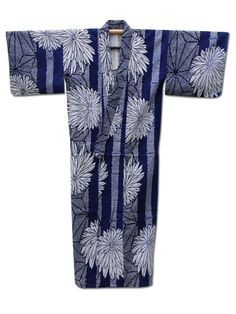 ☆ New Arrival☆ 'Shades of Blue' #womens #indigo #hemp & #cotton #vintage #Japanese #kimono with dramatic #chrysanthemum design from #FujiKimono http://www.fujikimono.co.uk/fabric-japanese/shades-of-blue.html