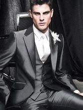 Smoking do noivo melhor casamento homem terno 2014 padrinho de casamento dos homens preto brilhante smoking one_Buttons_Nocth_Lapel_black_Wedding_Suit_For_Grooms(China (Mainland))