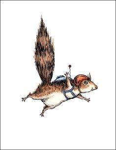 Skydiver Squirrel, individual card.. $3.50, via Etsy.
